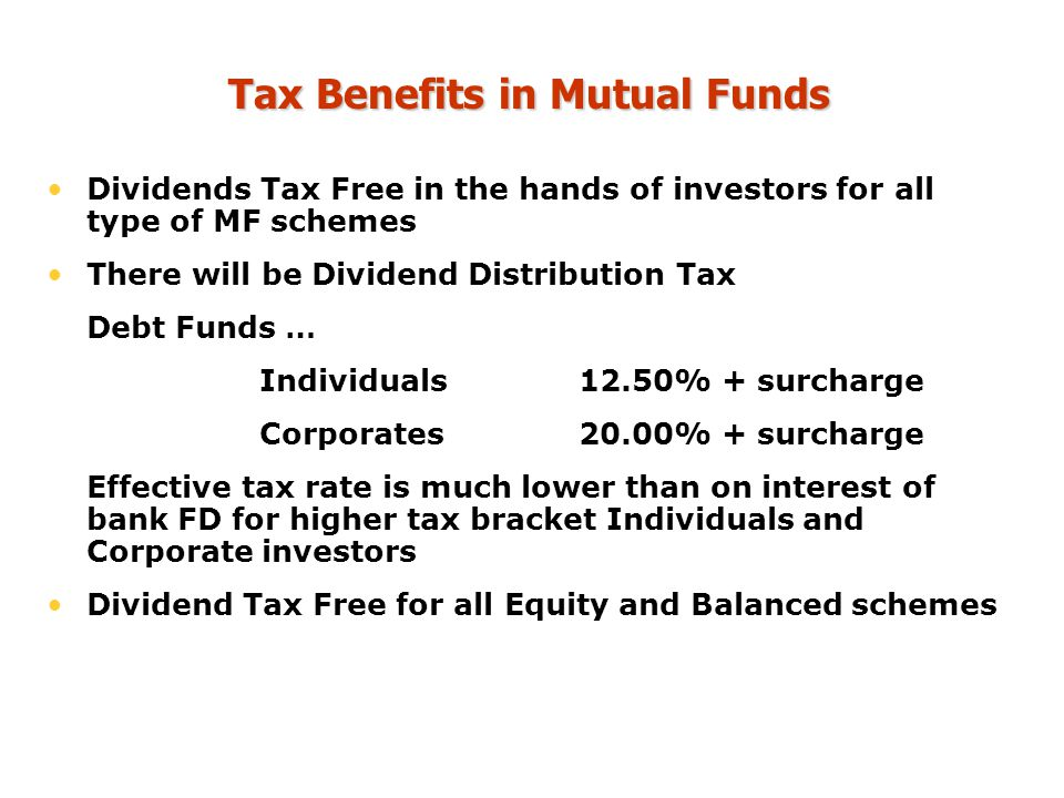 Tax Benefits in Mutual Funds