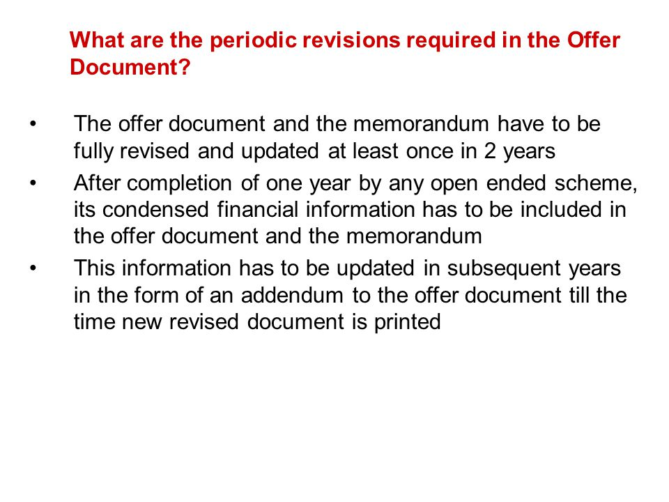 What are the periodic revisions required in the Offer Document