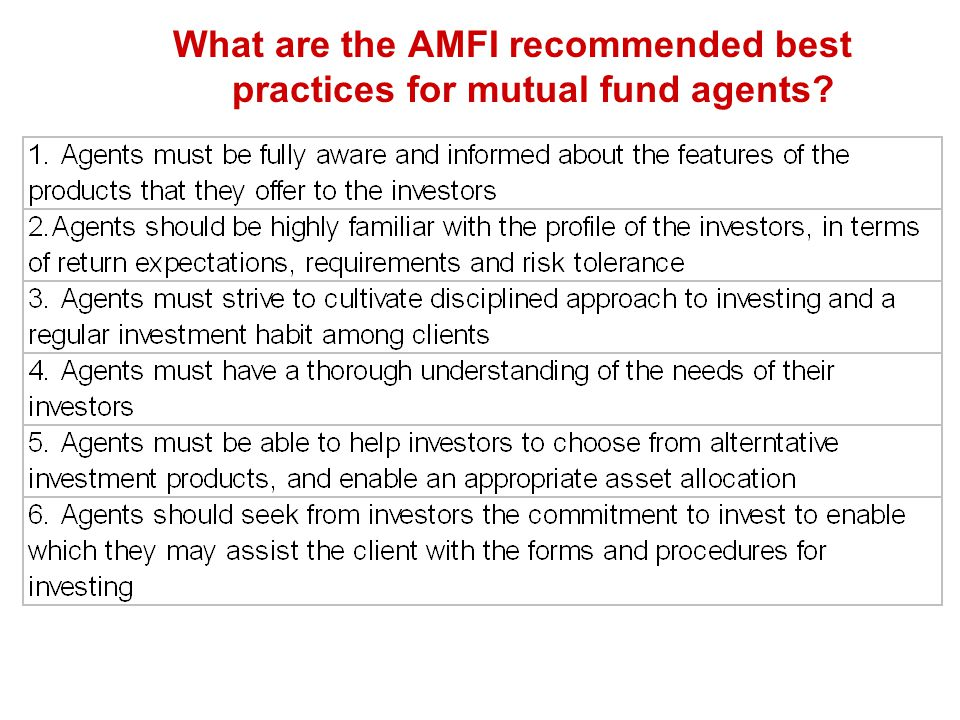 What are the AMFI recommended best practices for mutual fund agents