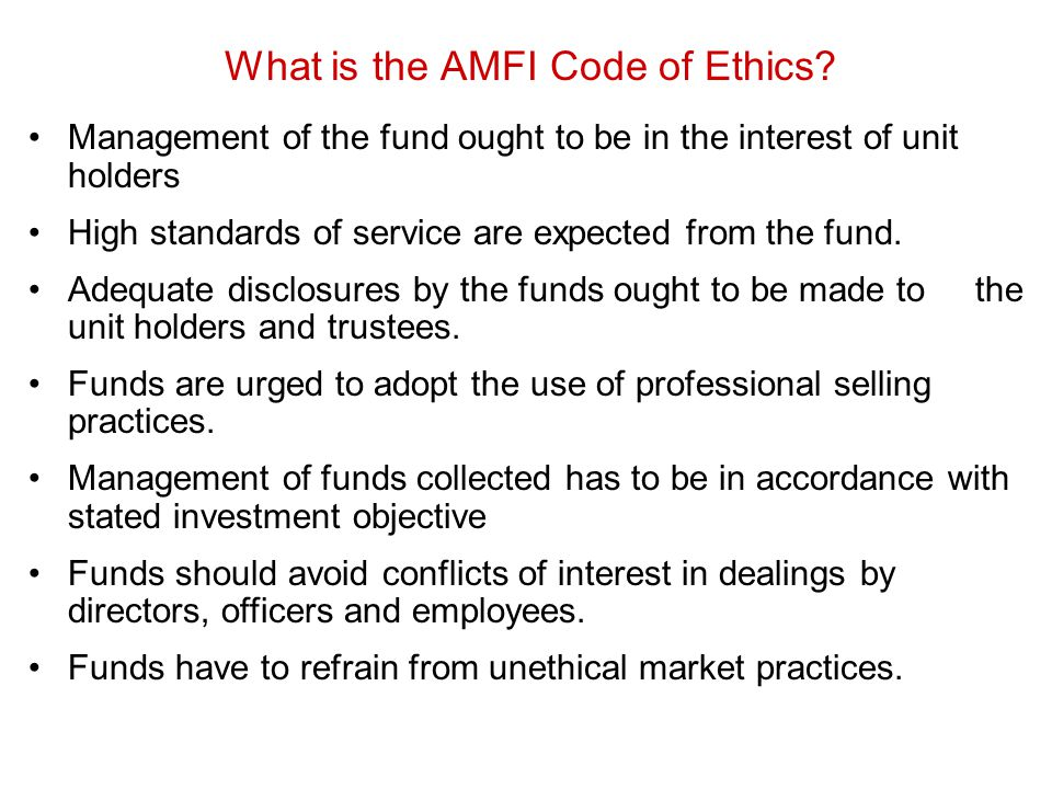 What is the AMFI Code of Ethics
