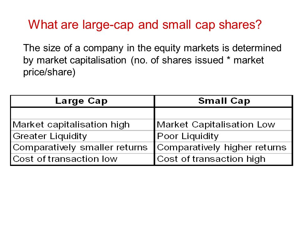 What are large-cap and small cap shares