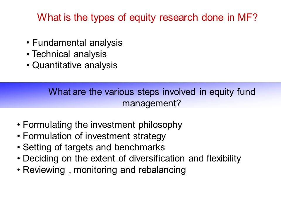 What is the types of equity research done in MF
