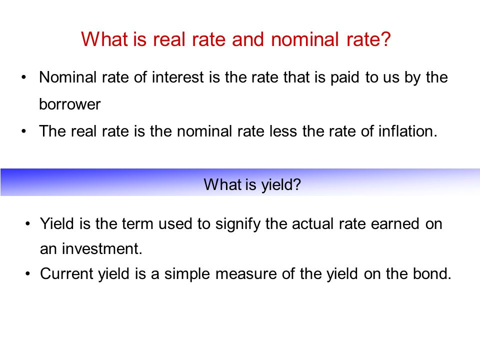 What is real rate and nominal rate