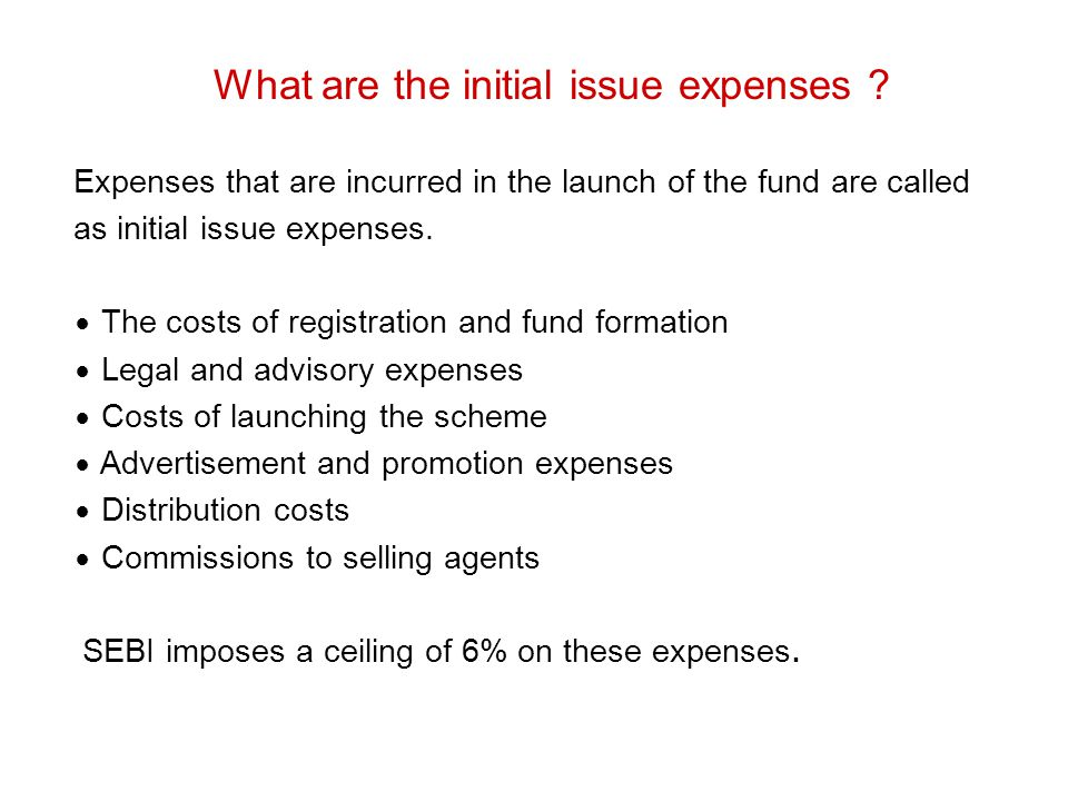 What are the initial issue expenses
