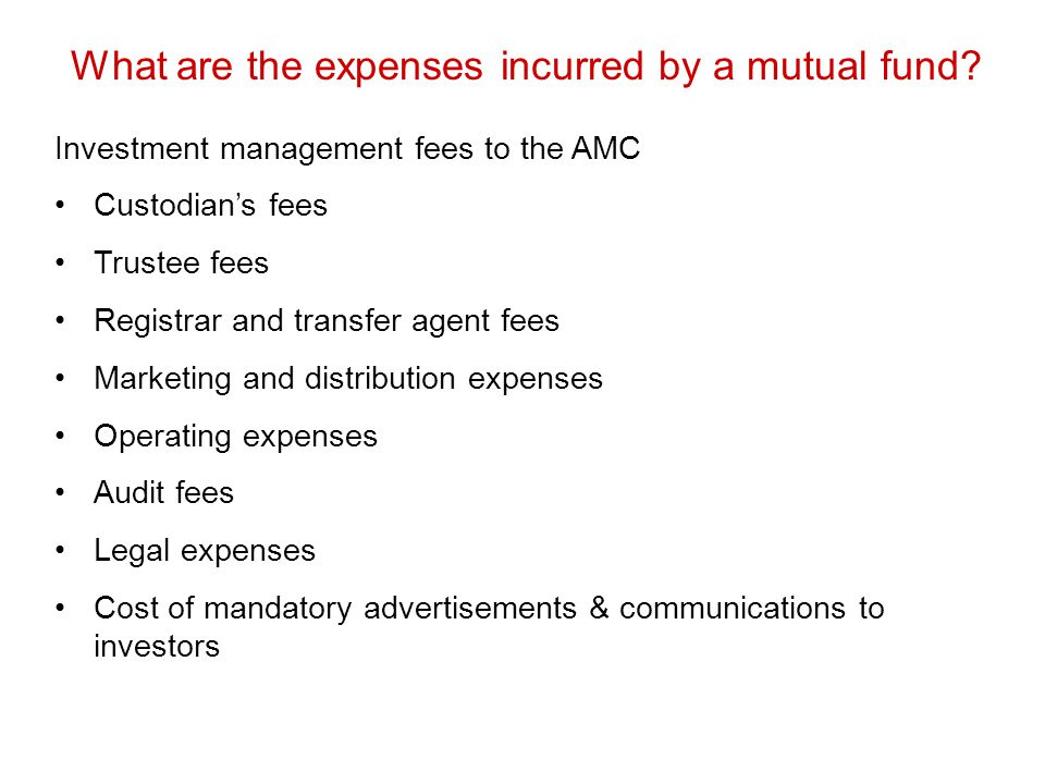 What are the expenses incurred by a mutual fund
