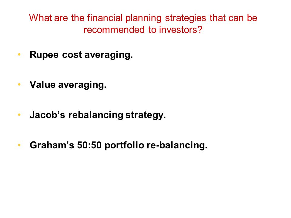What are the financial planning strategies that can be recommended to investors