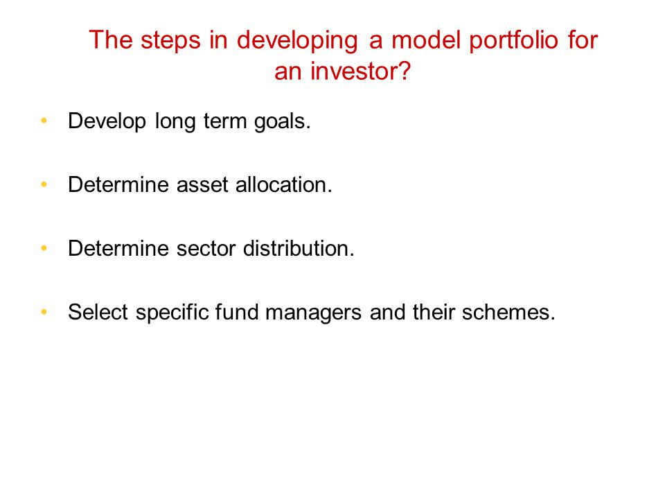 The steps in developing a model portfolio for an investor