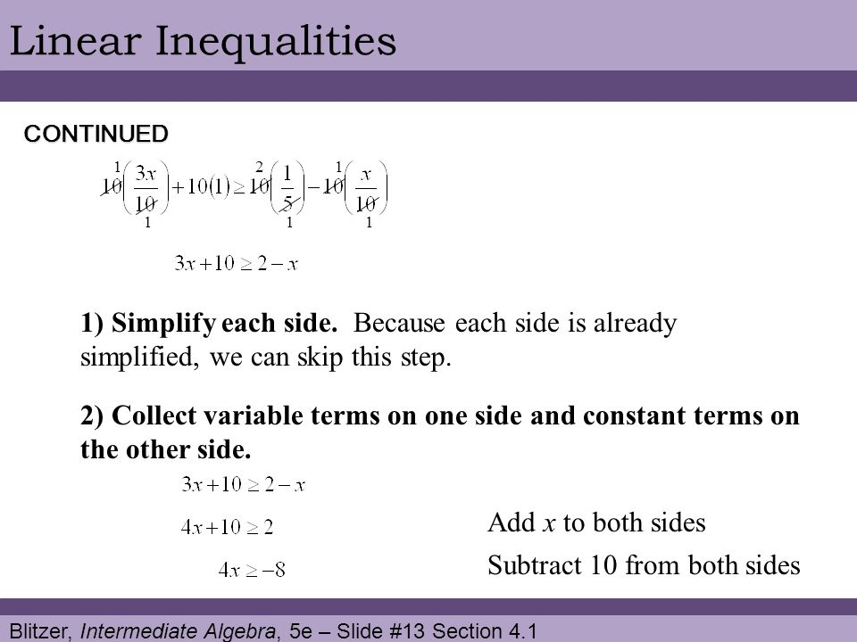 Linear Inequalities CONTINUED. 1 2 1. 1 1 1.