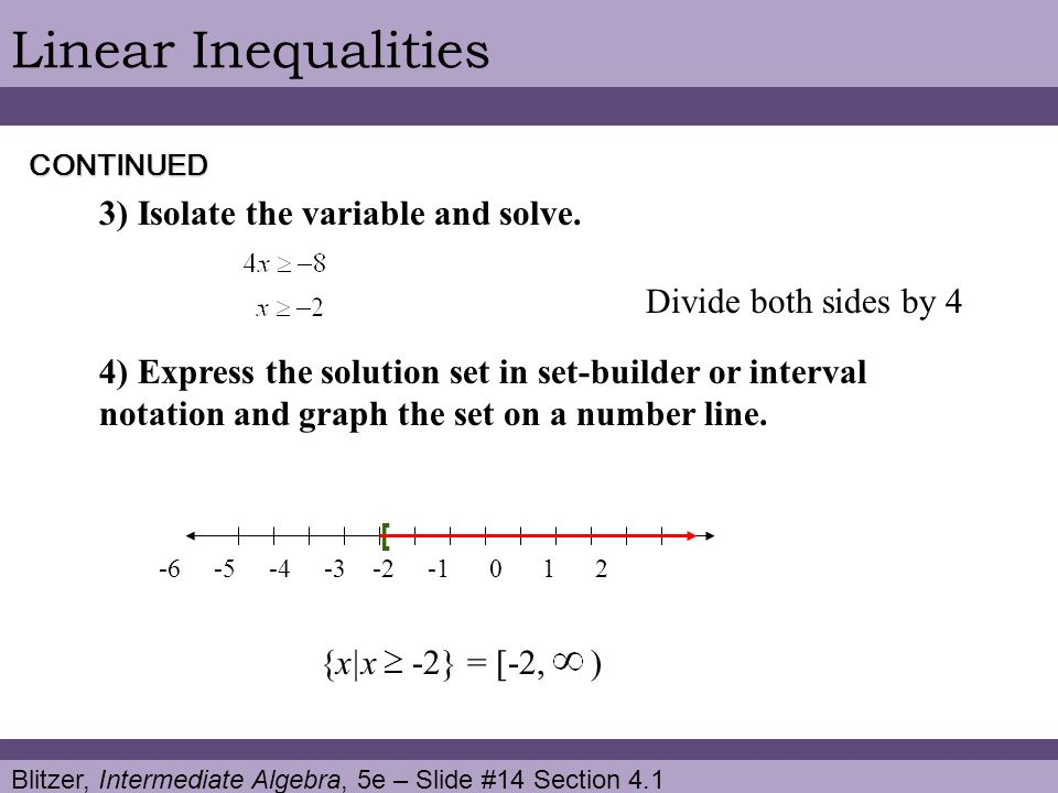Linear Inequalities 3) Isolate the variable and solve.