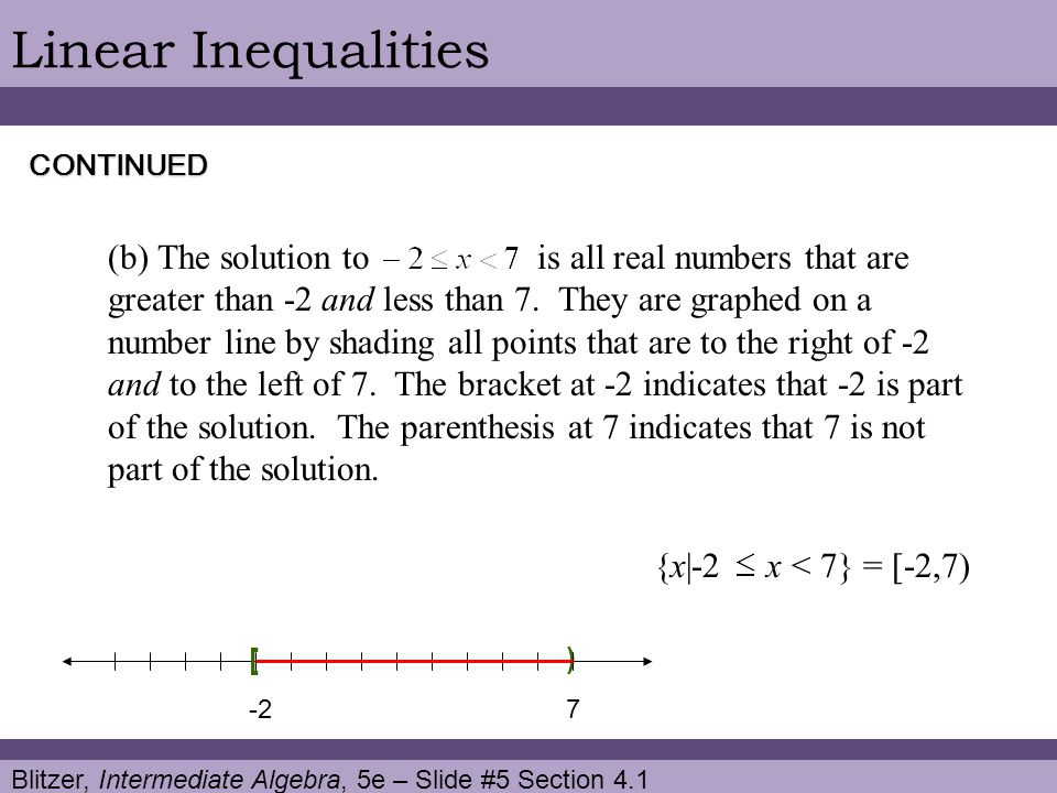 Linear Inequalities CONTINUED.