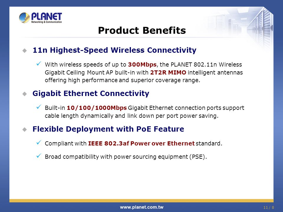 Product Benefits 11n Highest-Speed Wireless Connectivity