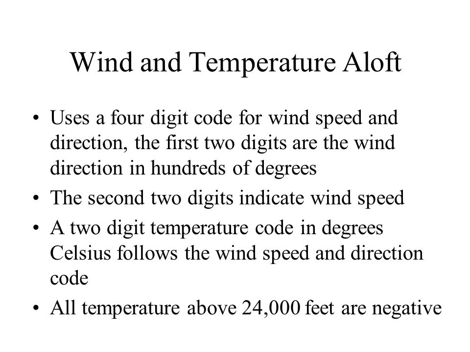 Wind and Temperature Aloft