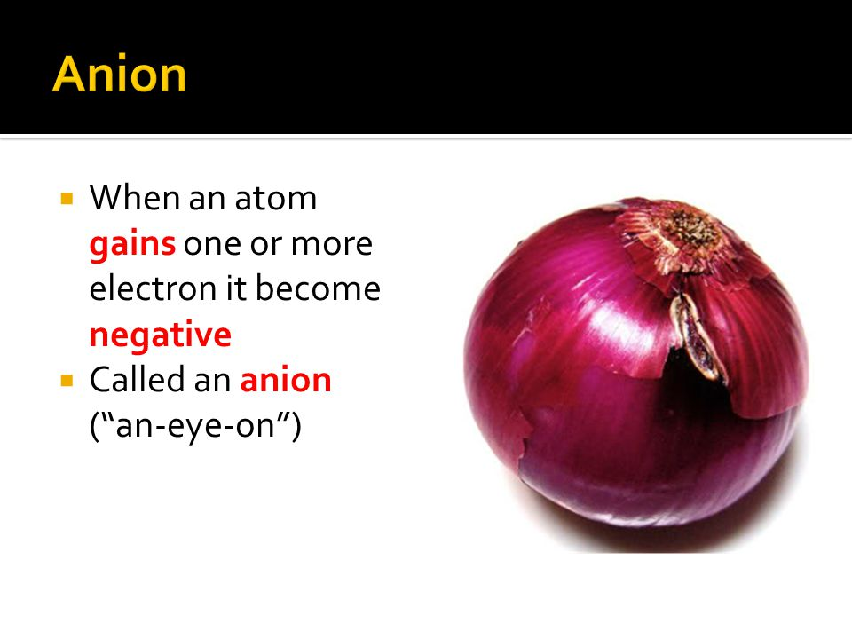 Anion When an atom gains one or more electron it become negative