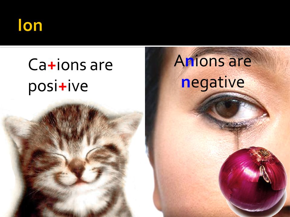 Ion Anions are negative Ca+ions are posi+ive