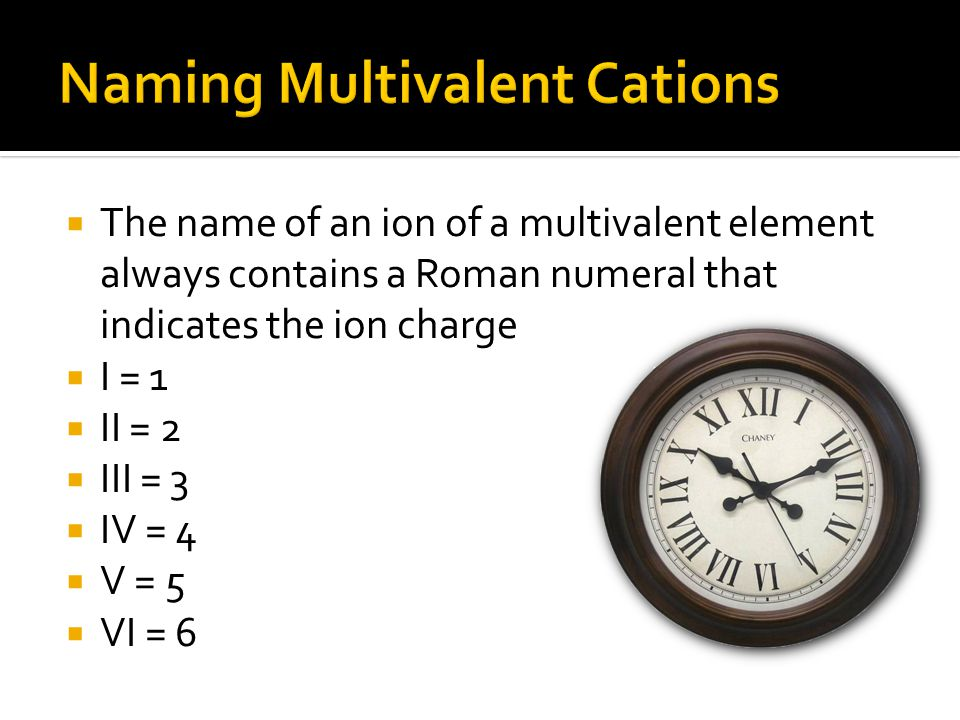 Naming Multivalent Cations