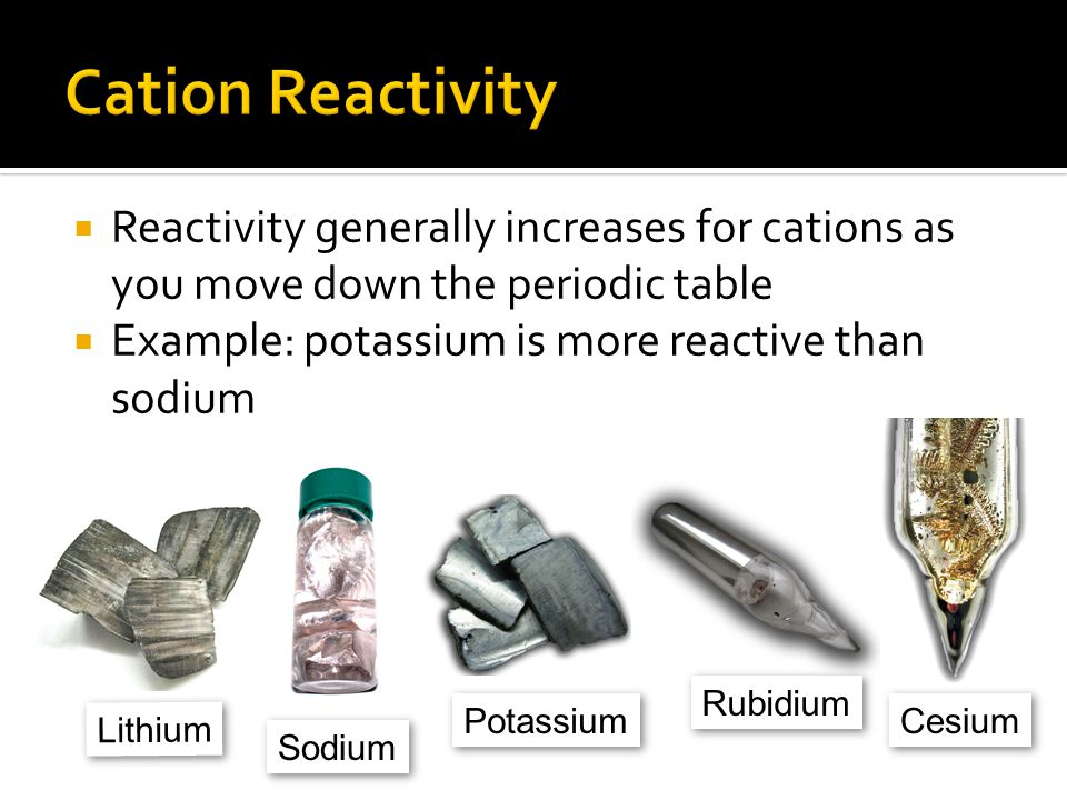 Cation Reactivity Reactivity generally increases for cations as you move down the periodic table. Example: potassium is more reactive than sodium.