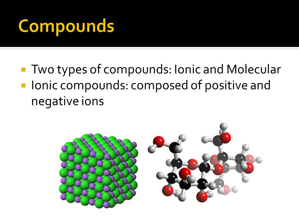 Compounds Two types of compounds: Ionic and Molecular