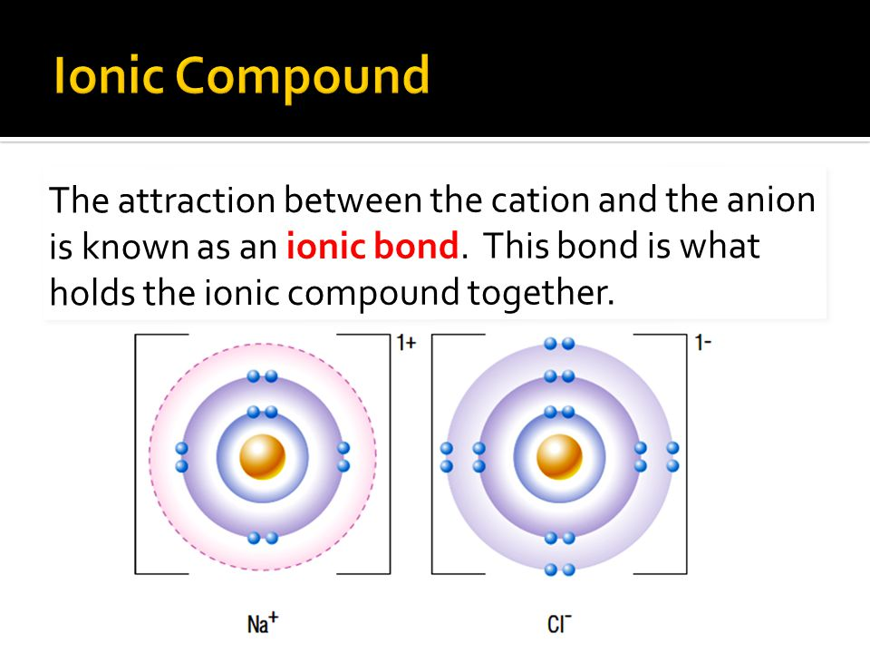 Ionic Compound The attraction between the cation and the anion is known as an ionic bond.