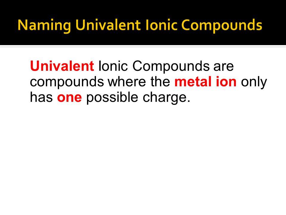 Naming Univalent Ionic Compounds