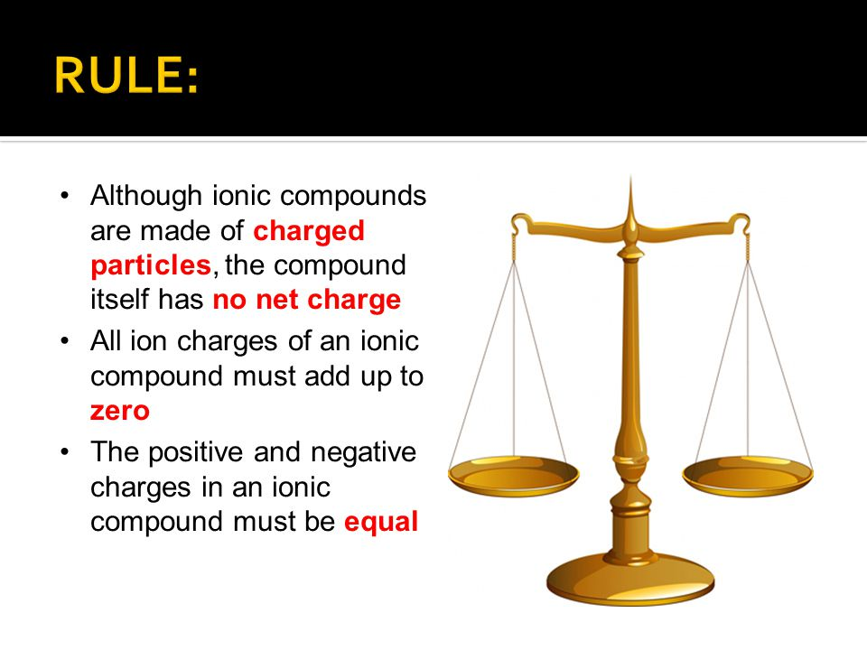 RULE: Although ionic compounds are made of charged particles, the compound itself has no net charge.