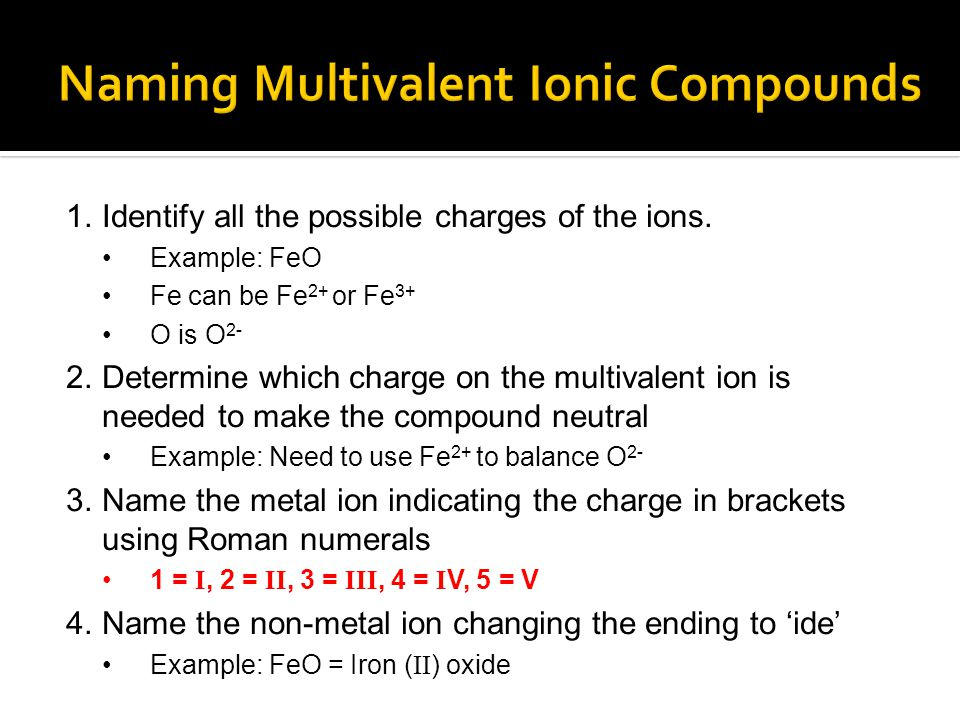 Naming Multivalent Ionic Compounds