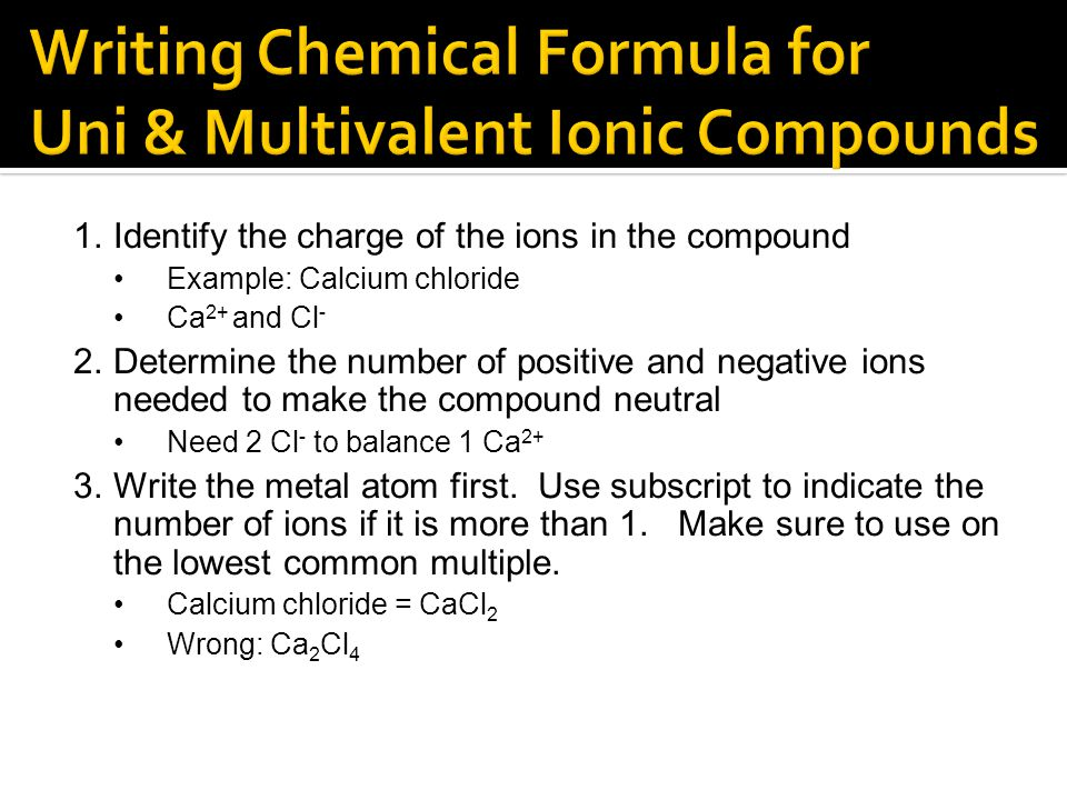 Writing Chemical Formula for Uni & Multivalent Ionic Compounds