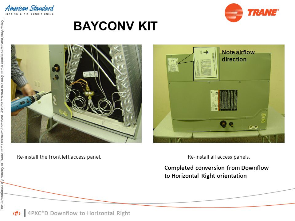 BAYCONV KIT Note airflow direction. Re-install the front left access panel. Re-install all access panels.