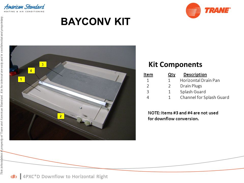 BAYCONV KIT Kit Components 4PXC*D Downflow to Horizontal Right