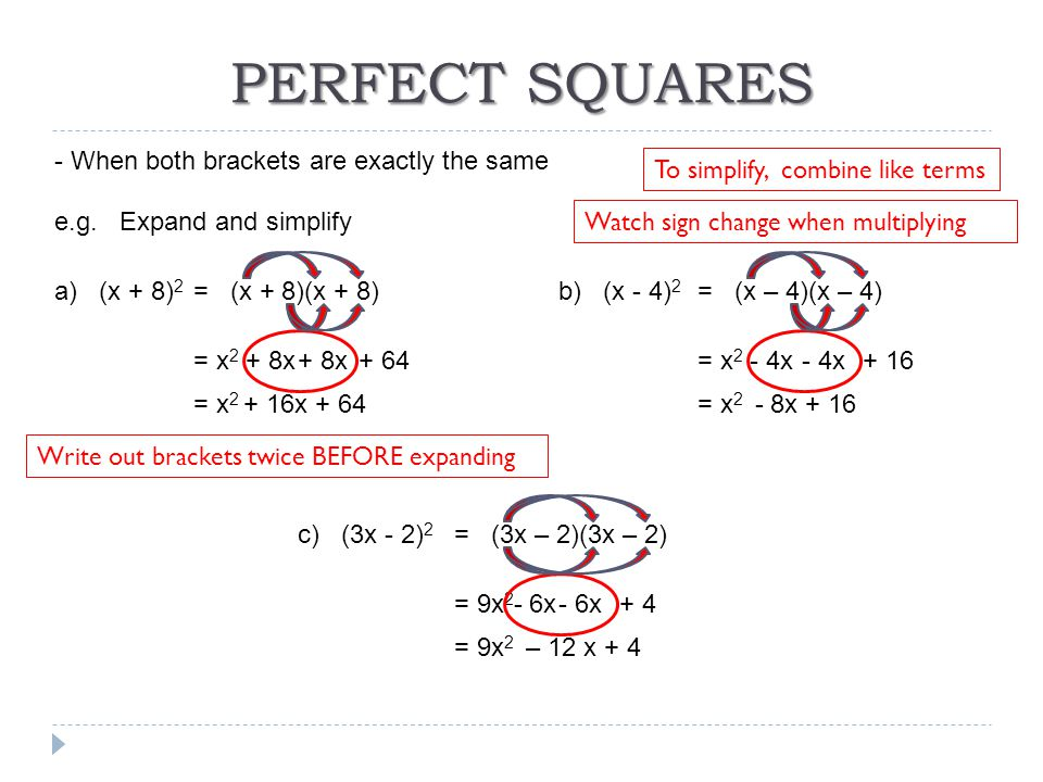 PERFECT SQUARES - When both brackets are exactly the same