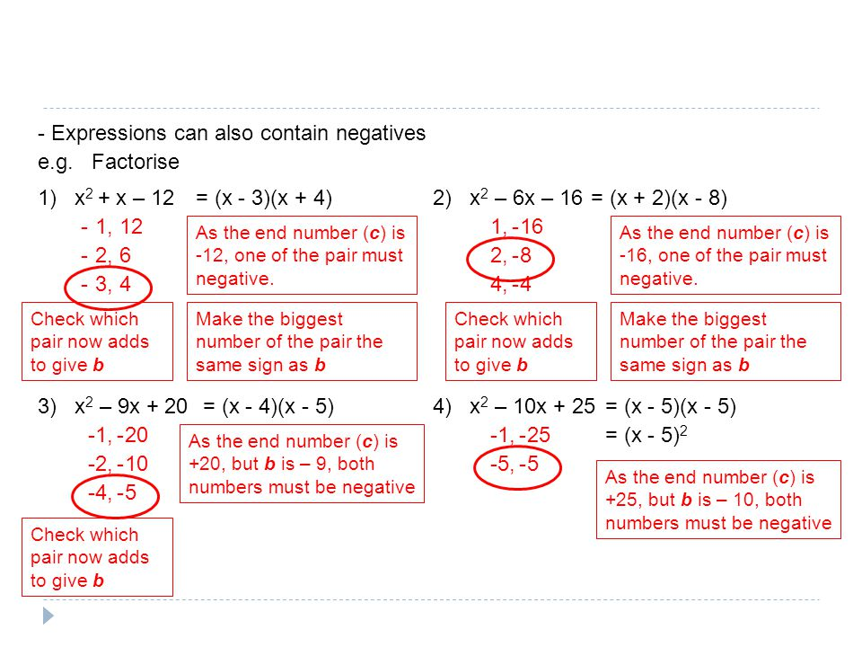 - Expressions can also contain negatives e.g. Factorise