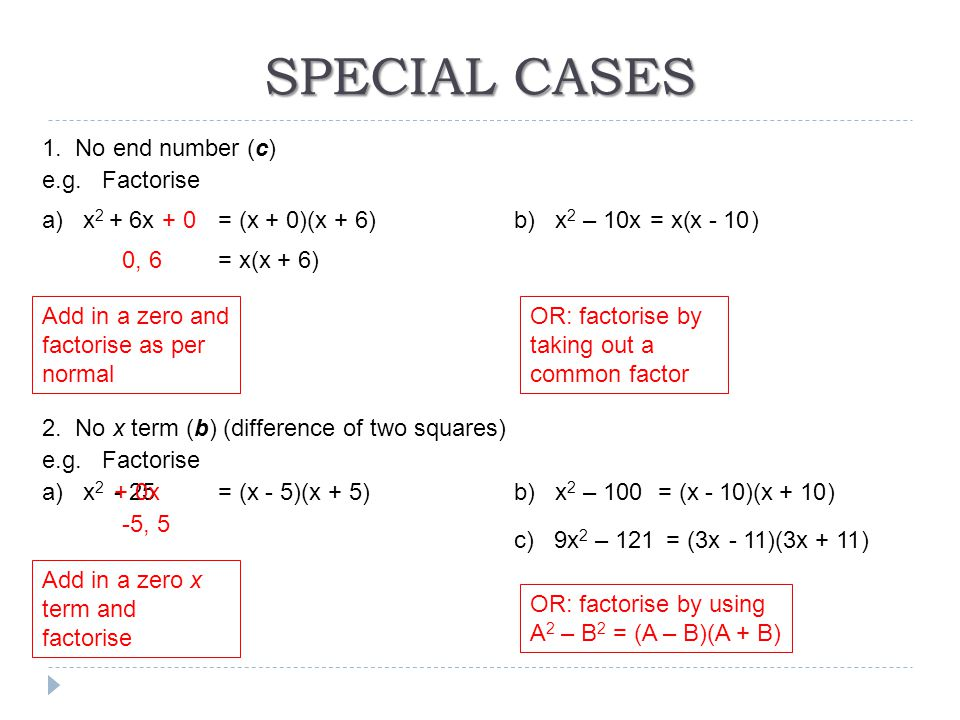 SPECIAL CASES 1. No end number (c) e.g. Factorise a) x2 + 6x + 0