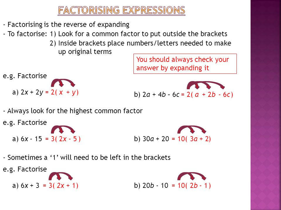 factorising expressions