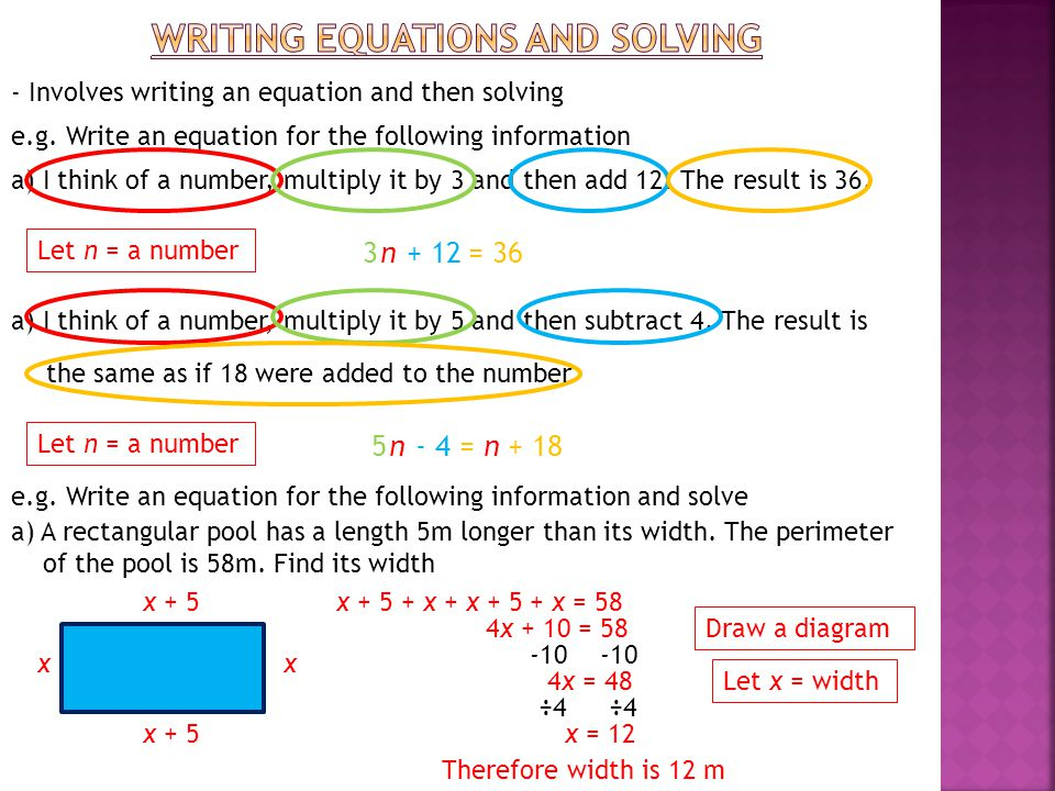 Writing EQUATIONS and solving