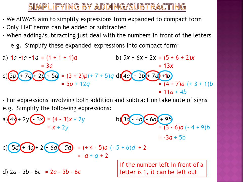 Simplifying by adding/subtracting