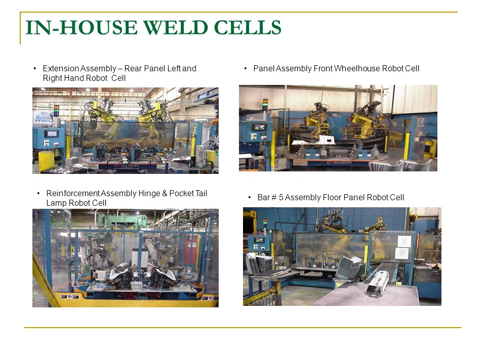 IN-HOUSE WELD CELLS Extension Assembly – Rear Panel Left and Right Hand Robot Cell. Panel Assembly Front Wheelhouse Robot Cell.