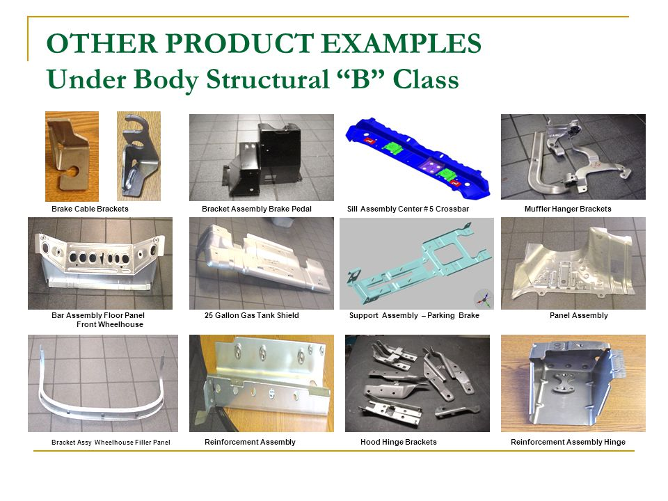 OTHER PRODUCT EXAMPLES Under Body Structural B Class