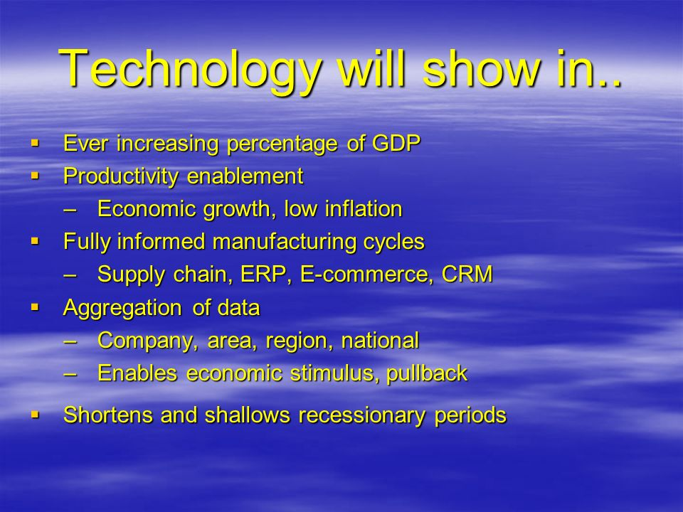 Technology will show in..