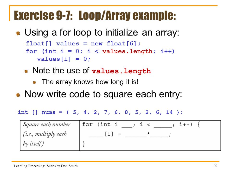 Exercise 9-7: Loop/Array example: