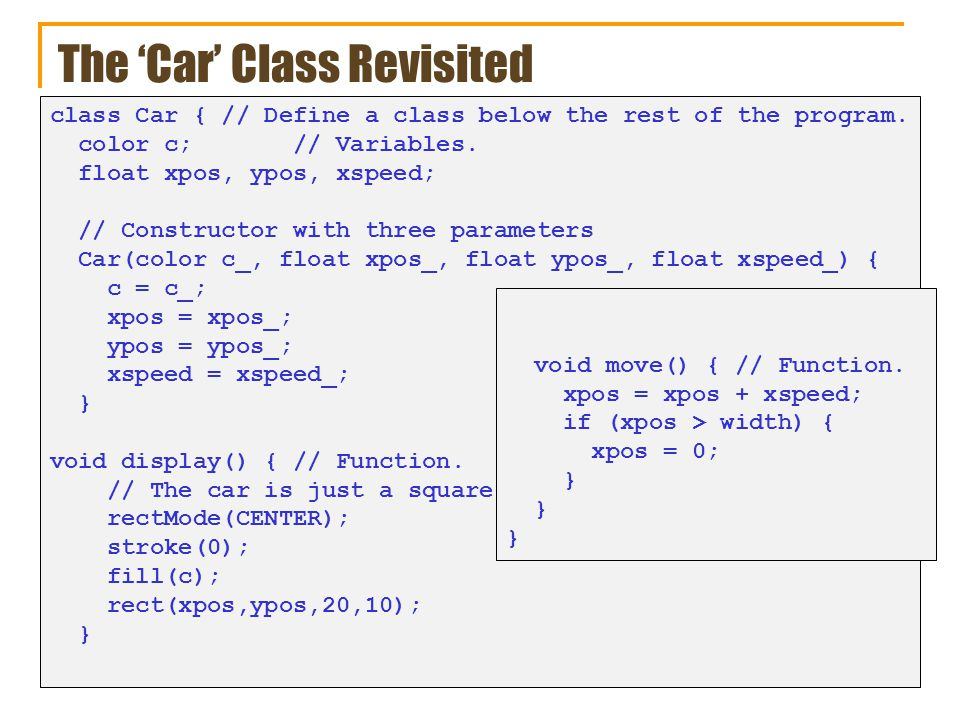 The 'Car' Class Revisited