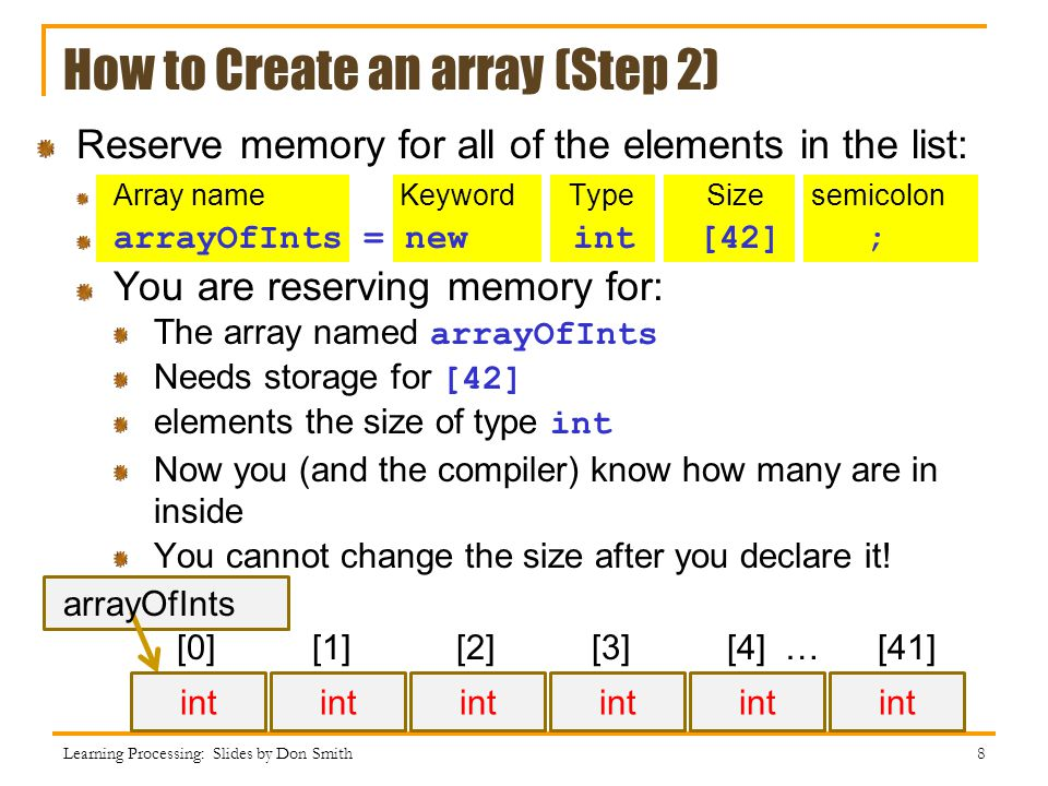 How to Create an array (Step 2)