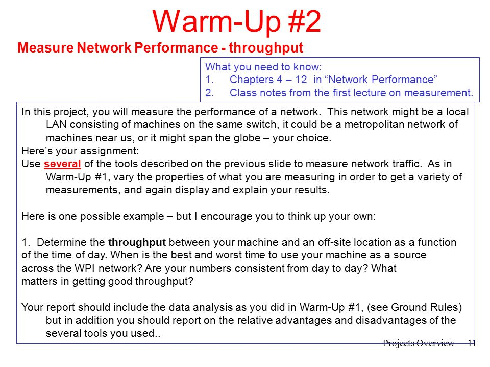 Warm-Up #2 Measure Network Performance - throughput