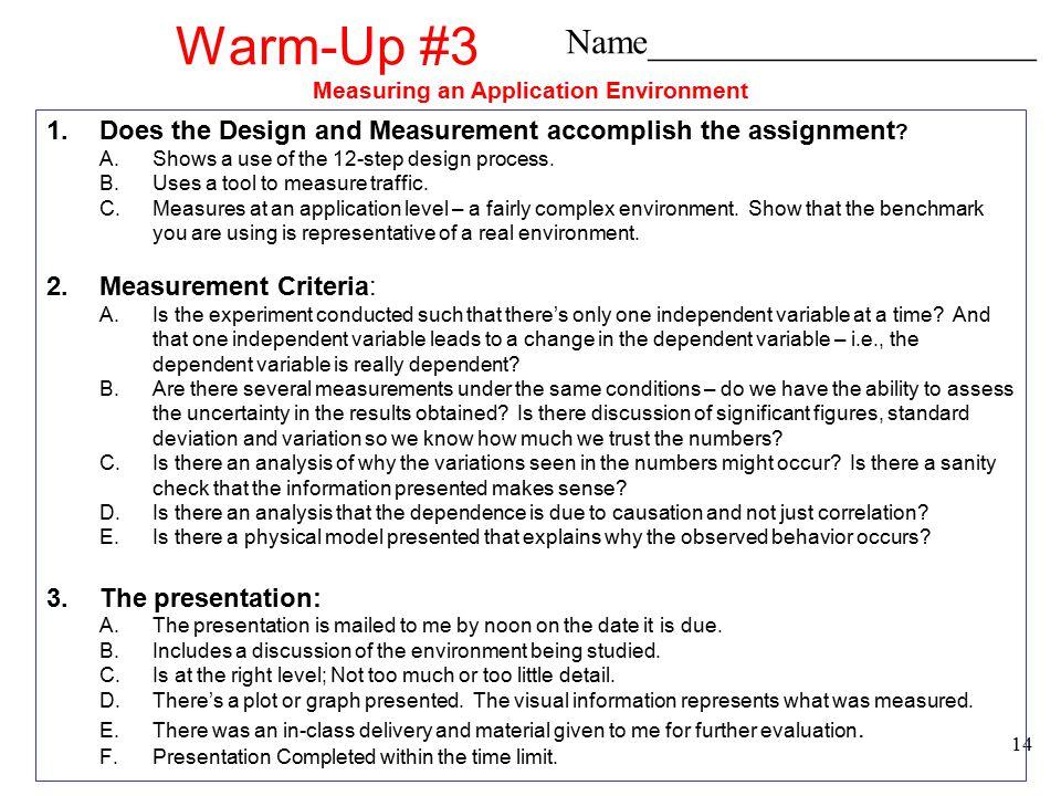 Measuring an Application Environment