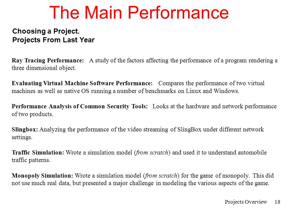 The Main Performance Choosing a Project. Projects From Last Year