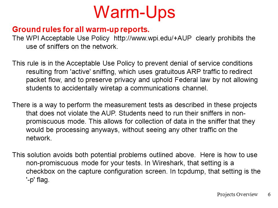 Warm-Ups Ground rules for all warm-up reports.