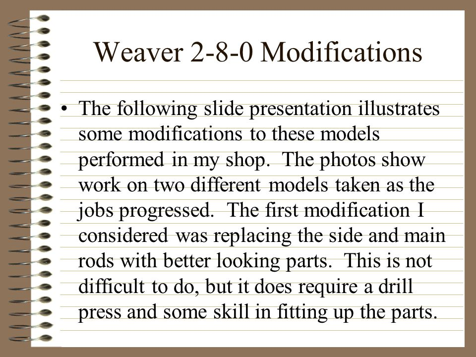 Weaver 2-8-0 Modifications