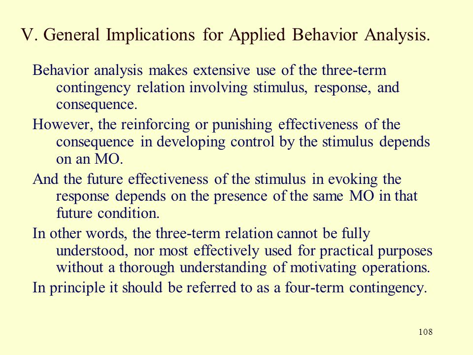V. General Implications for Applied Behavior Analysis.