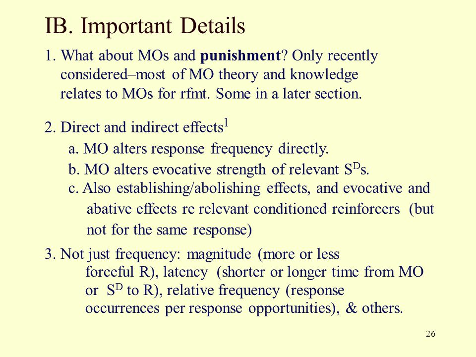 IB. Important Details