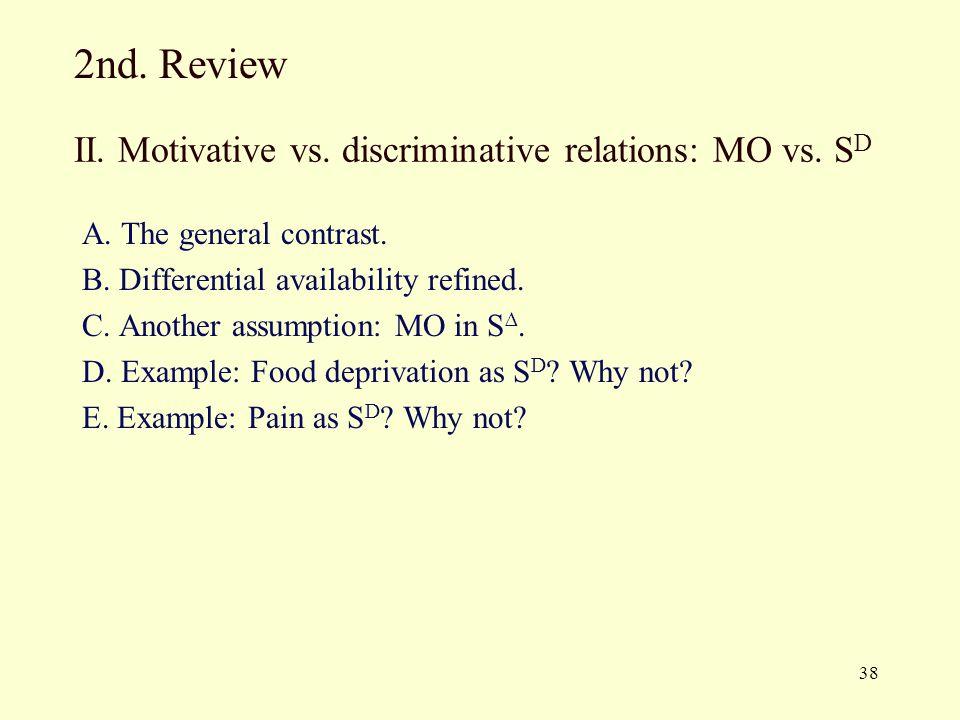 II. Motivative vs. discriminative relations: MO vs. SD