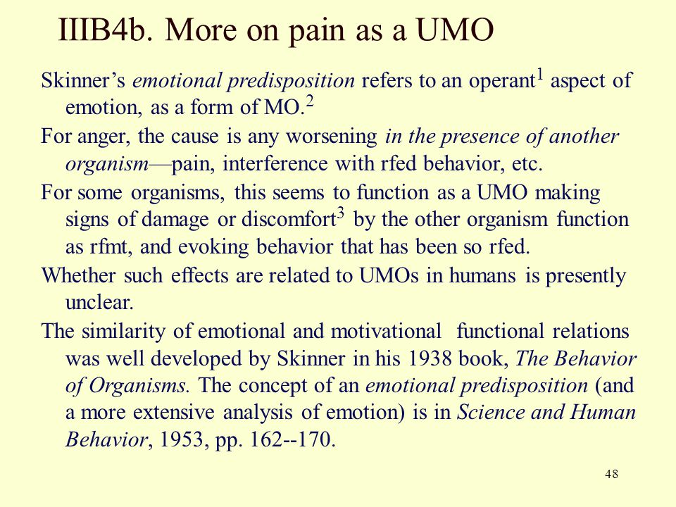 IIIB4b. More on pain as a UMO