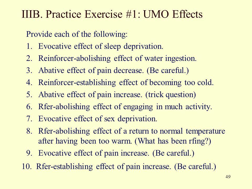 IIIB. Practice Exercise #1: UMO Effects